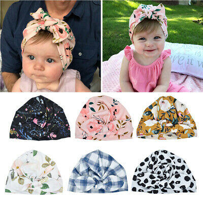 Baby Fashion Hat Solid Turban Kids Girls Sun Hat Elastic Caps Baby Cap Bow Tie