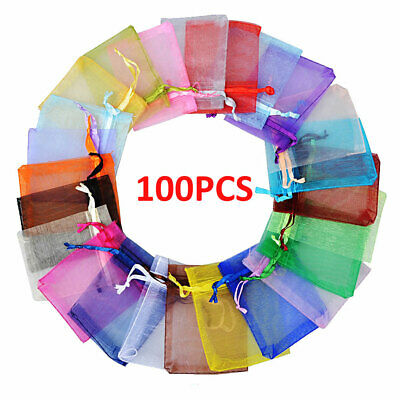 100x Large Organza Bag Favour Christmas Tree Gift Bag Voile Net Drawstring Bags
