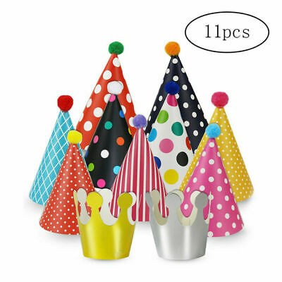 Party Hats for Kids Paper Birthday Party Hats 11 Pack 9 Hats with 2 Crowns