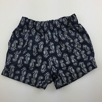 Girls size 2, Target, navy cotton shorts, elasticated, seahorses, GUC