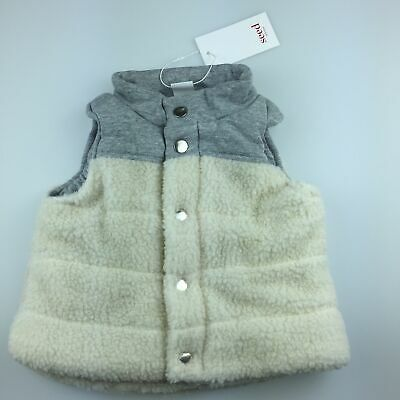 Boys size 0, Seed Heritage, cotton lined snuggly sherpa vest, NEW