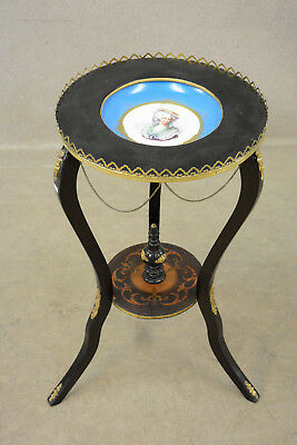 Antique napoleon III Black French Sellette Stand sevres porcelain plate putti