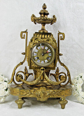 Antique French Bronze Mantel Ram head louis XVI clock S marti marked