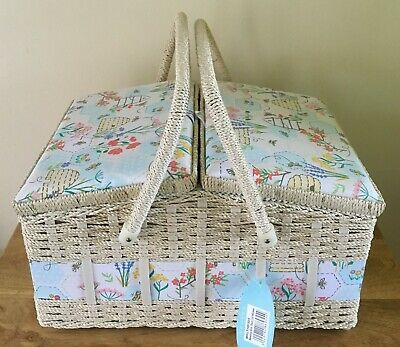 Sewing Basket Box 'Sewing Bee' Design Large Twin Lid Super Quality