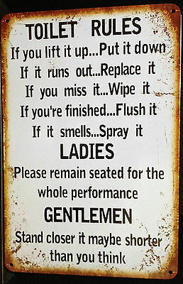 TOILET RULES Garage Rustic Look Vintage Tin Metal Signs Man Cave, Shed & Bar Pub
