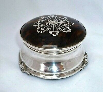 Antique Silver Faux Tortoiseshell Jewellery Ring Trinket Box – William Comyns