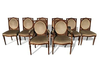 Exquisite rare set of 8 William IV style dining chairs to be French polished