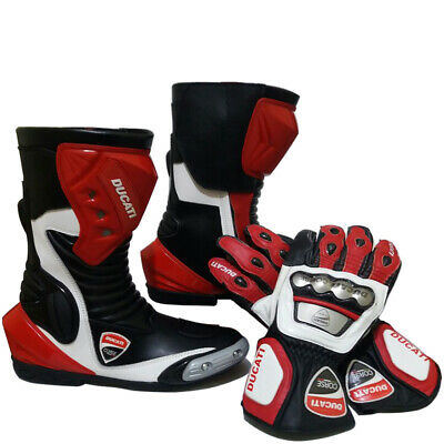 Ducati Corse Motorbike Racing Shoe and Glove Cowhide Leather Scooter Ride Boots
