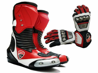 New Ducati Corse Motorbike Racing Leather Boot and Glove Motorcycle OffRoad Shoe