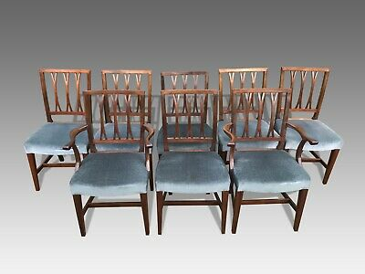 Exquisite rare set of 8 George III style dining chairs to be pro French polished