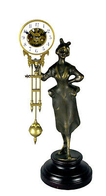 German Style Mystery Brass Barmaid Lady Swinging Clock with Skeleton Movement