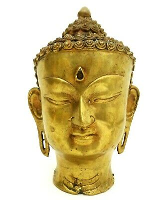 Early-Mid 20Th C Antique Signed Indian Brass Sculpture Thai Buddha Diety Head