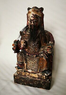 17th/18thC Chinese Hardwood Gesso & Polychrome Male Deity with Real Hair  21.5cm