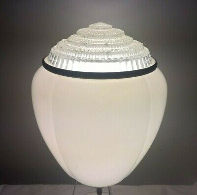 Large Antique Art Deco 1930s White Glass Pendant Light Ceiling Lamp