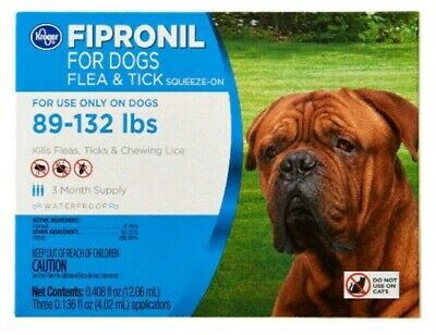 Kroger Fipronil For Dog Flea & Tick Squeeze-On 89-132 Lbs 3 months supply