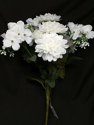 White Artificial Dahlia & Blossom Mixed Bunch x 42cm Wedding Home Flower