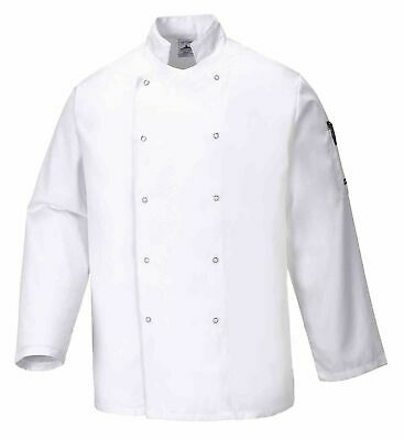 Portwest Suffolk White Chefs Jacket Cooking Food Industry Catering Kitchen C833