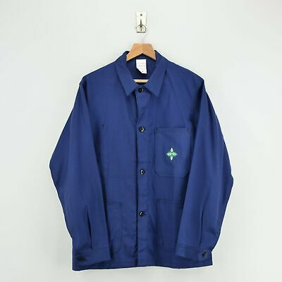 Vintage French Worker Indigo Blue Deadstock Sanforized Cotton Chore Jacket M