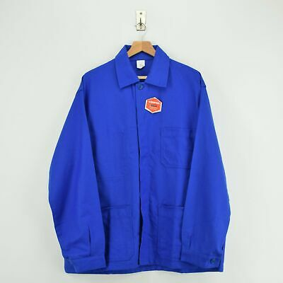 Vintage French Worker Bright Blue Deadstock Sanforized Cotton Chore Jacket XXL