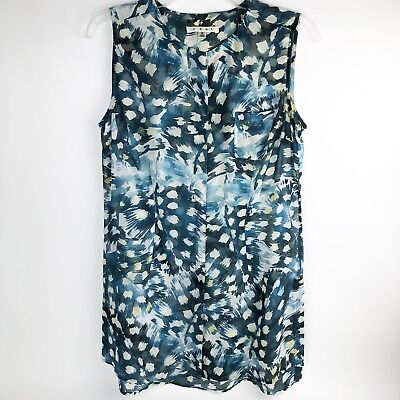 43334df1a7a Cabi Avery Tunic Top Sleeveless Blouse Blue White Yellow Style 416 Womens  Small