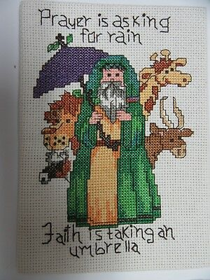 Finished Cross Stitch Prayer is Asking For Rain Faith is Taking Umbrella 5x7