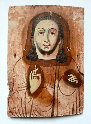 Antique Old Orthodox Icon Jesus Christ Russian Empire Hand Painted Board 21x15cm