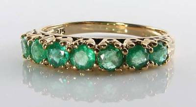 Classic 9Ct 9K Gold Colombian Emerald Eternity Art Deco Ins Ring Free Resize
