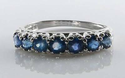 Classic 9Ct 9K White Gold Blue Sapphire Art Deco Ins Eternity Ring Free Resize