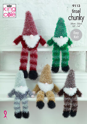 KING COLE 9031 CHRISTMAS SANTA//FATHER CHRISTMAS TINSEL ORIGINAL KNITTING PATTERN