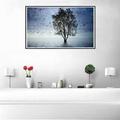 Nordic Foggy Forest Birds Canvas Painting Wall Bedroom Home Decor  Unframed