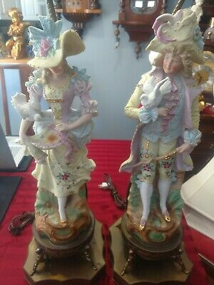 Pair Large Antique Meissen Porcelain Lamps, Figurine Man w/Dove, Lady w/Hat Dove
