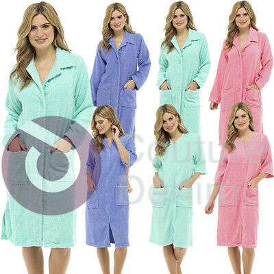 Ladies Terry Towelling Zip or Button Front Dressing Gown Bath Womens Robe Wrap