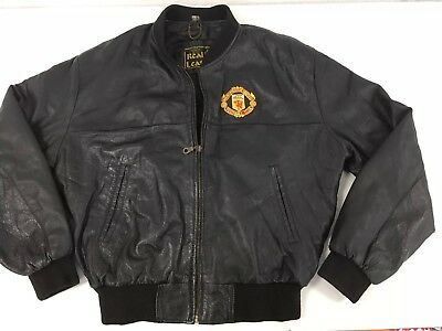 Manchester United Football Club Vintage Leather Bomber Jacket Mens 80s Retro