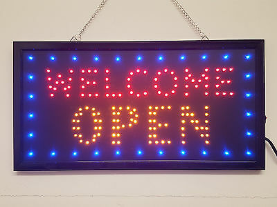 LED WELCOME OPEN flashing sign for shop business cafe pub door hanging window