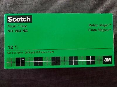 Scotch Magic Tape Refill Rolls 12 Pack 1/2 Inch (20.8yd) New Made In USA