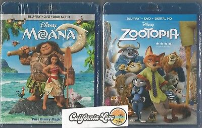 Moana + Zootopia Blu-Ray + Dvd 2-Movie 4-Disc Combo Disney ✔☆Mint☆✔ No Digital