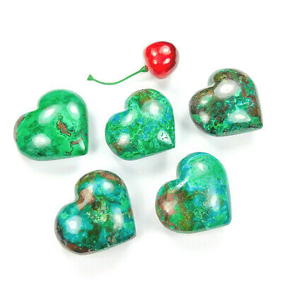 Chrysocolla Heart Carved Crystal 1 Pc Polished Gemstone BR34 Healing Crystals