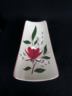 Stangl Pottery Magnolia Relish Tray Platter Red/Light Green Floral Curved