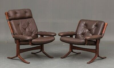 NORWEGIAN MID CENTURY COCO LEATHER AND ROSE LOUNGE CHAIR SET 1970,s