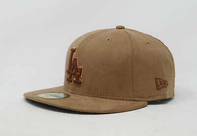 New Era 59Fifty Hat Mens MLB Los Angeles Dodgers Tan Faux Suede Fitted 5950 Cap