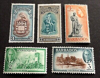 Barbados 1950-54 - 5 beautiful unused stamps