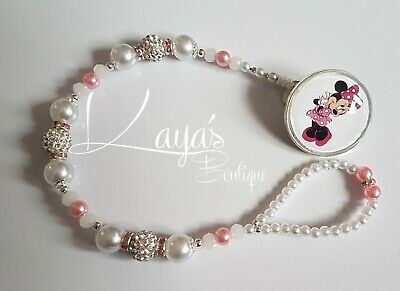 *Minnie Mouse* Bling Pink White Shamballa Romany Dummy Clip Girl *Any Name*