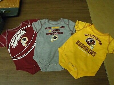H6 NEW NFL girls Infant Washington Redskins 3 Piece Bodysuit Set  0-3 months