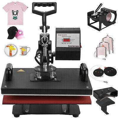 8 in 1 Heat Press Machine Transfer T-Shirt Hat Mug Cap 30x38cm Multifunctional