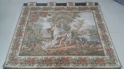 """Antique 19c Aubusson French Tapestry Beautiful Color Real  size38""""x48cm97x122"""