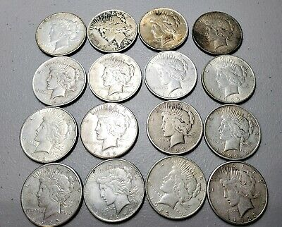 Lot of 16 Silver Peace Dollars 7x 1922 8x 1923  1935