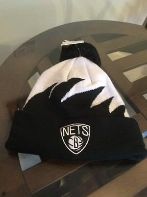 save off 7513f ad042 NWT Brooklyn Nets Mitchell   Ness Shark Tooth Winter Pom Hat Cap Beanie New!