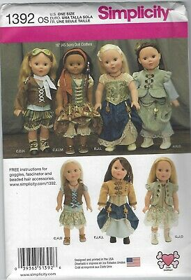 Simplicity 1392 Historical Steampunk 18 Girl Doll Clothes Pattern