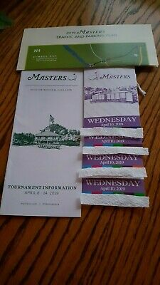 4 Master Tickets Wednesday, April 10, 2019 Practice Round And Par 3 Tournament
