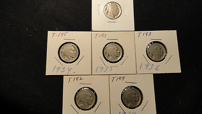 Buffalo Nickels Set of 6 1934, 1935, 1936, 1936, 1937 and ??